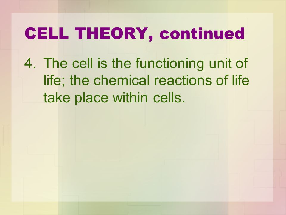 CELL THEORY, continued The cell is the functioning unit of life; the chemical reactions of life take place within cells.