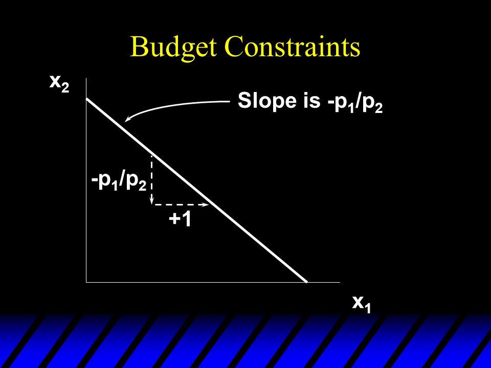 Budget Constraints x2 Slope is -p1/p2 -p1/p2 +1 x1