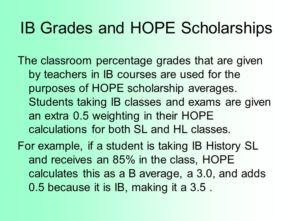 IB Grades and HOPE Scholarships