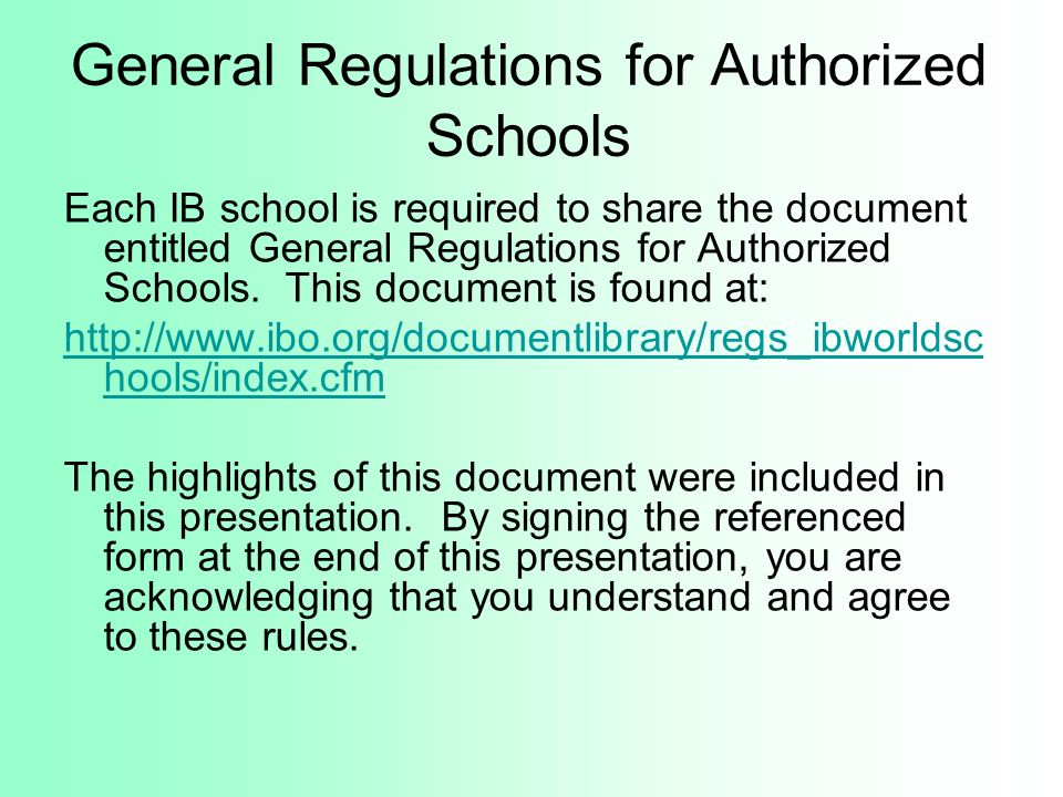 General Regulations for Authorized Schools