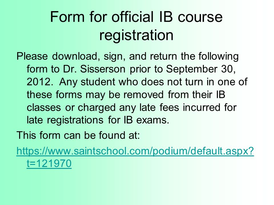 Form for official IB course registration