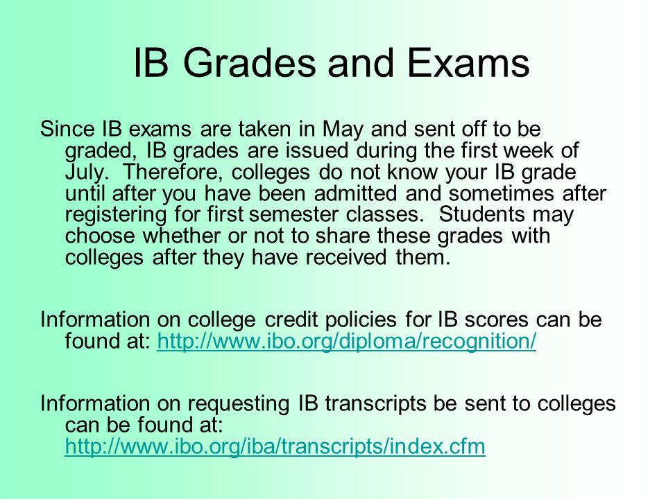 IB Grades and Exams