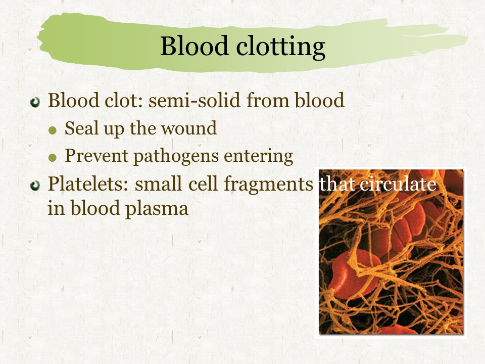 Blood clotting Blood clot: semi-solid from blood