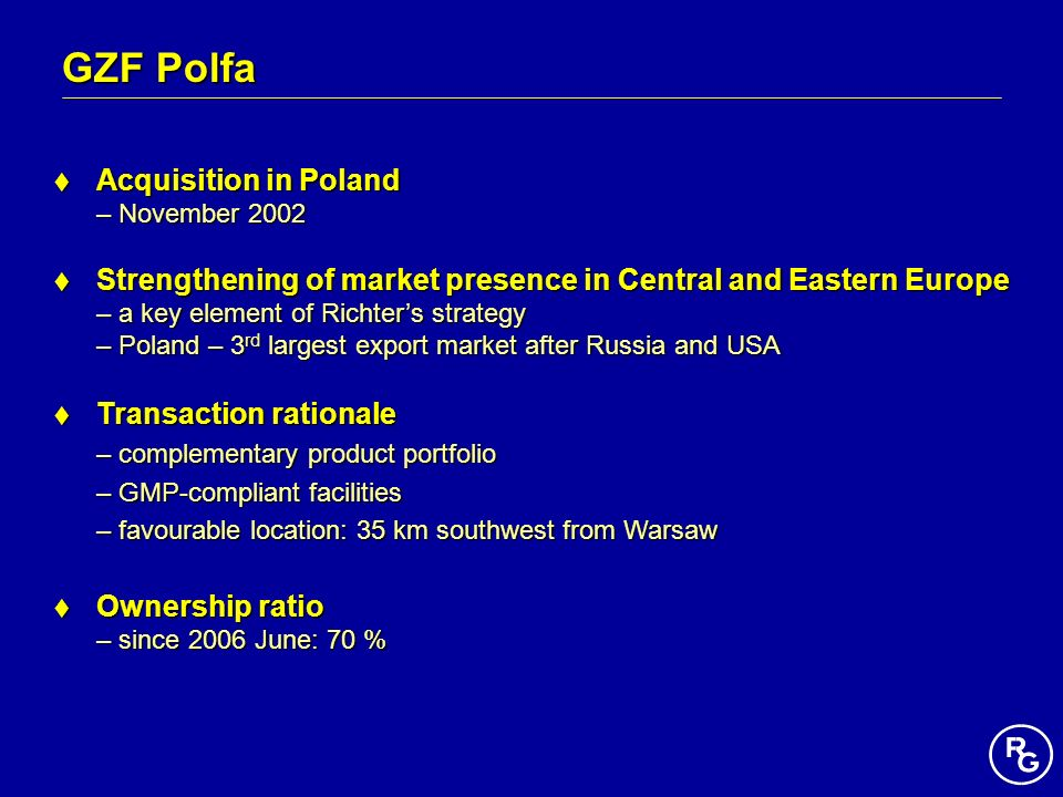 GZF Polfa Acquisition in Poland