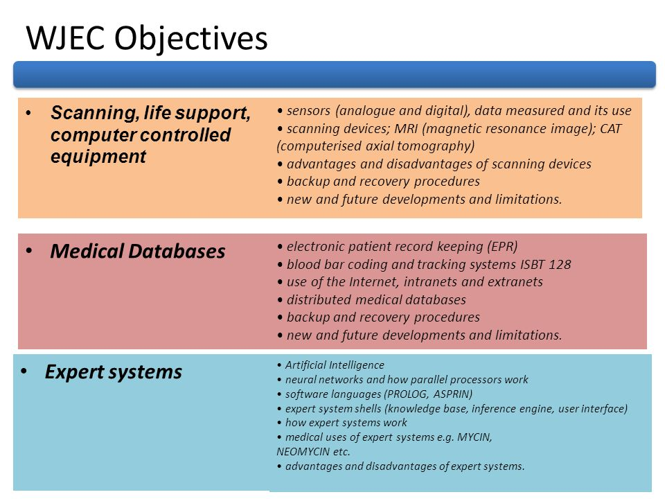 WJEC Objectives Medical Databases Expert systems