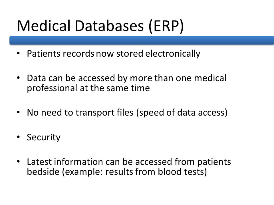Medical Databases (ERP)