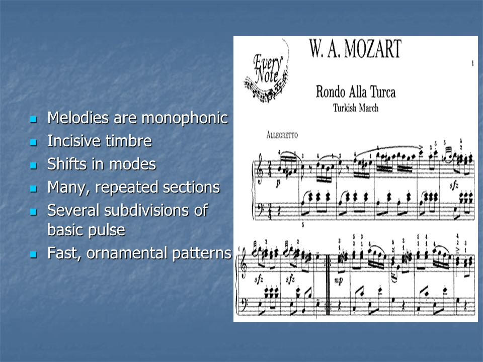 Melodies are monophonic