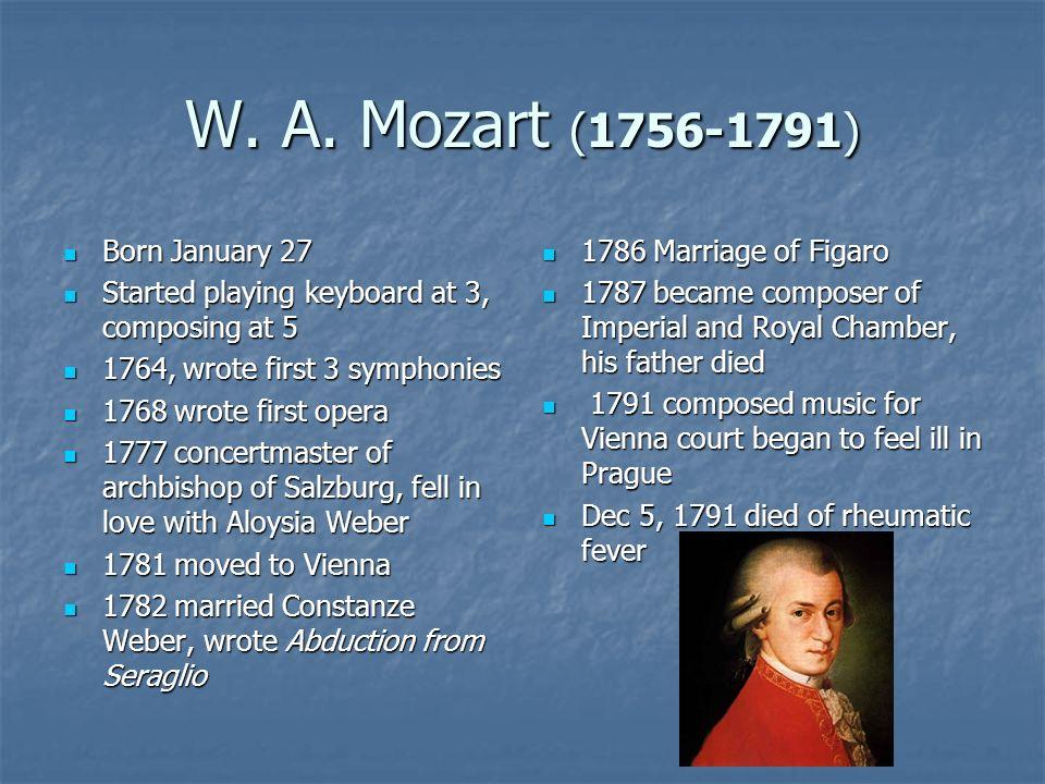 W. A. Mozart (1756-1791) Born January 27