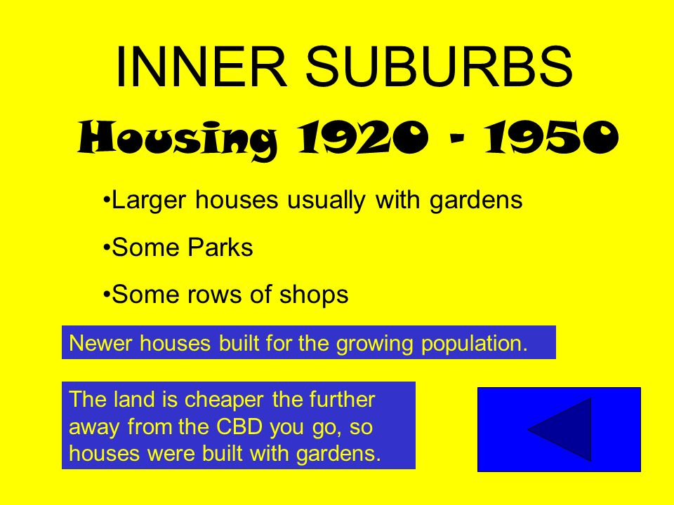 INNER SUBURBS Housing 1920 - 1950 Larger houses usually with gardens