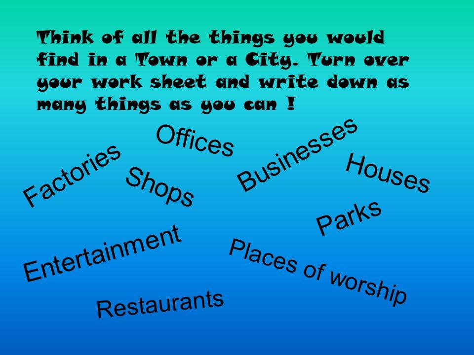 Businesses Offices Factories Houses Shops Parks Entertainment