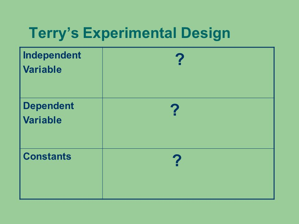 Terry's Experimental Design