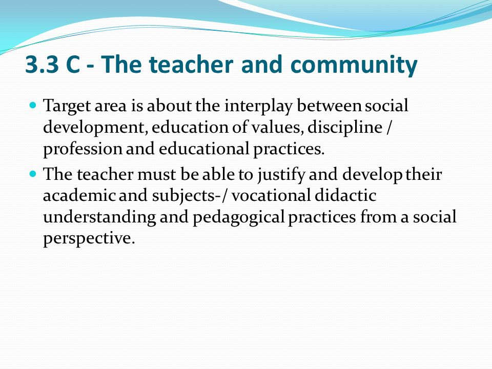3.3 C - The teacher and community