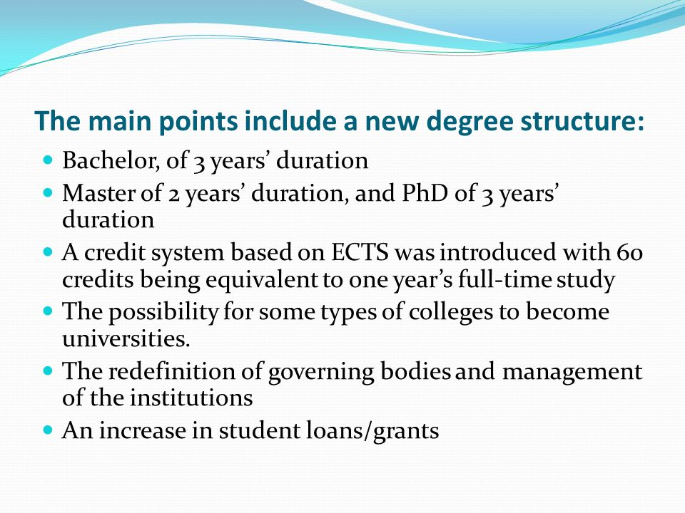 The main points include a new degree structure: