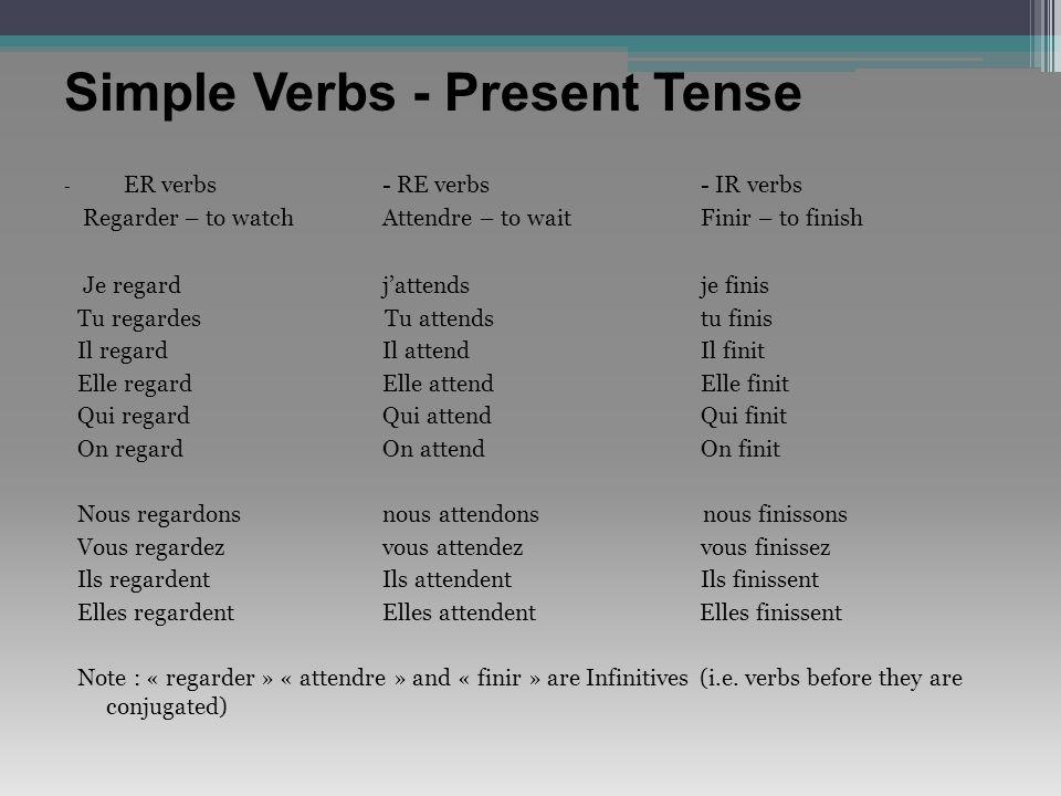 Simple Verbs - Present Tense
