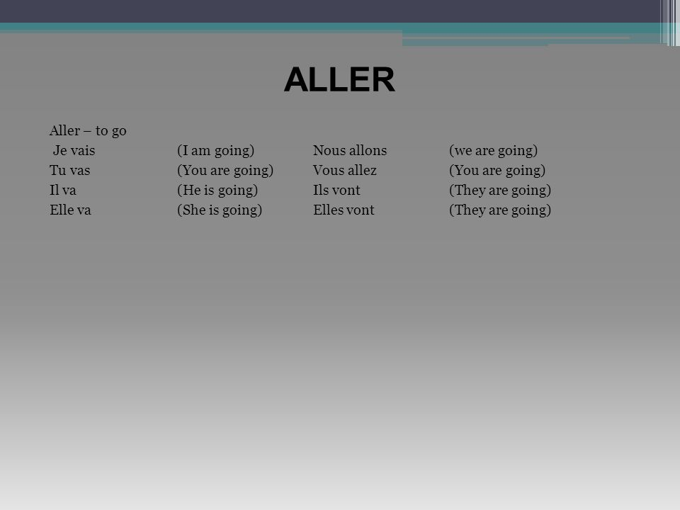 ALLER Aller – to go Je vais (I am going) Nous allons (we are going)