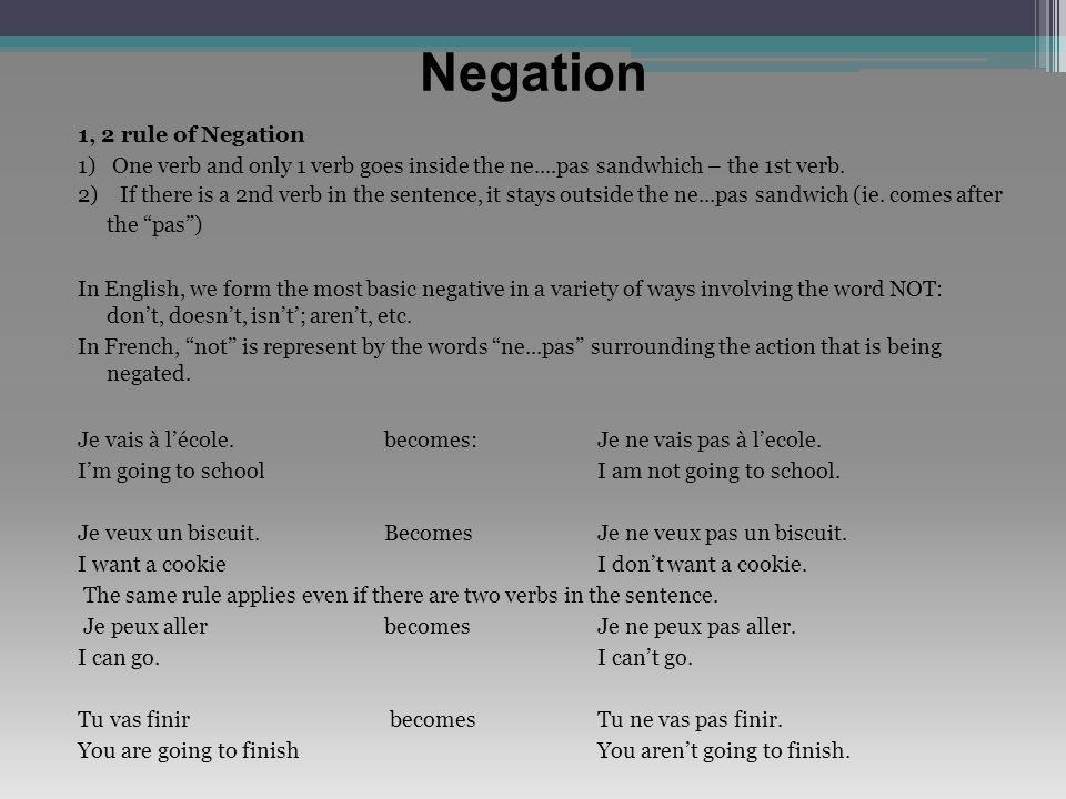 Negation 1, 2 rule of Negation