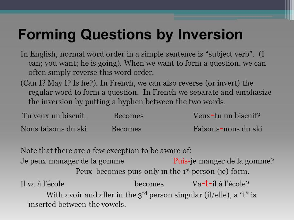 Forming Questions by Inversion
