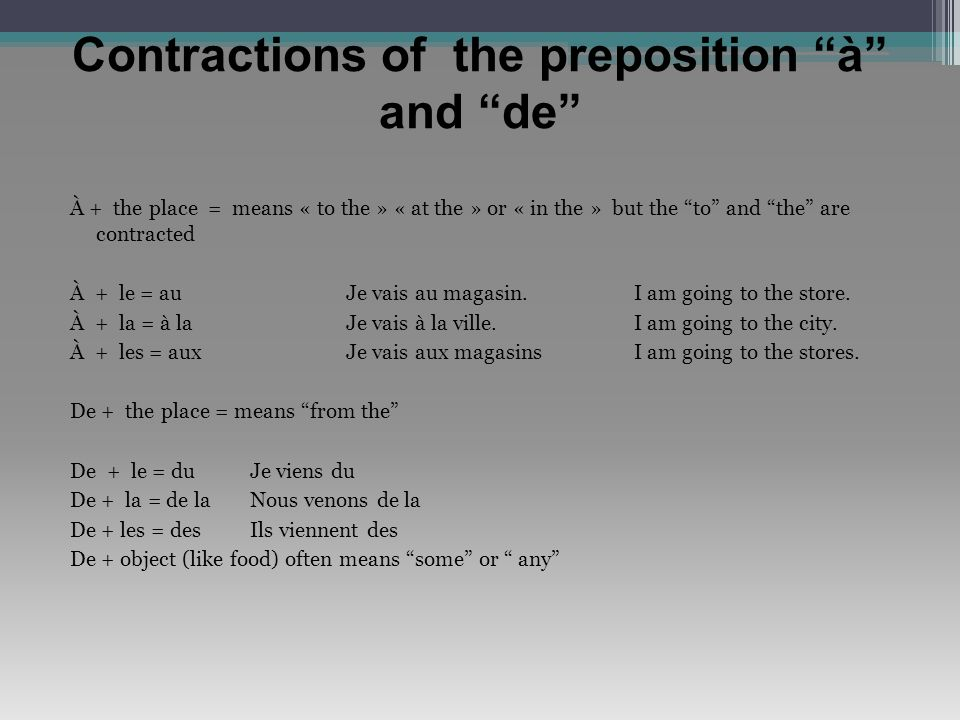 Contractions of the preposition à and de