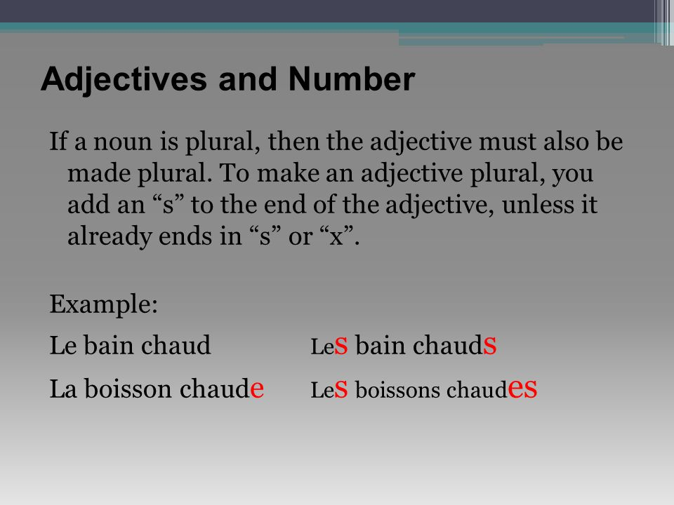 Adjectives and Number