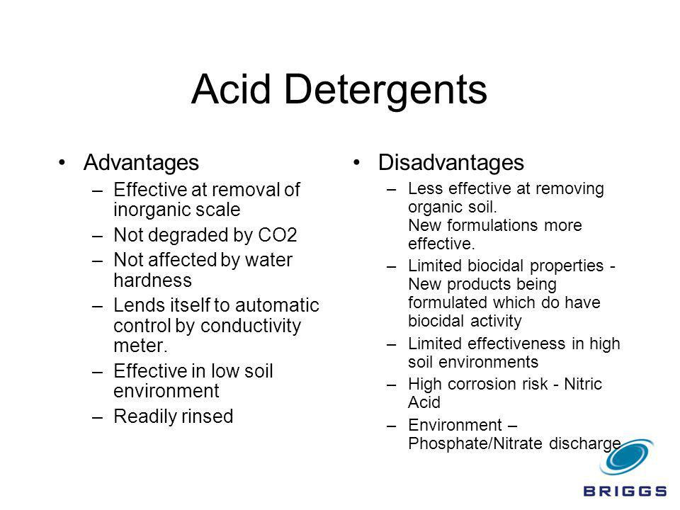 Acid Detergents Advantages Disadvantages