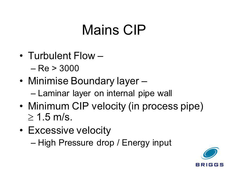 Mains CIP Turbulent Flow – Minimise Boundary layer –