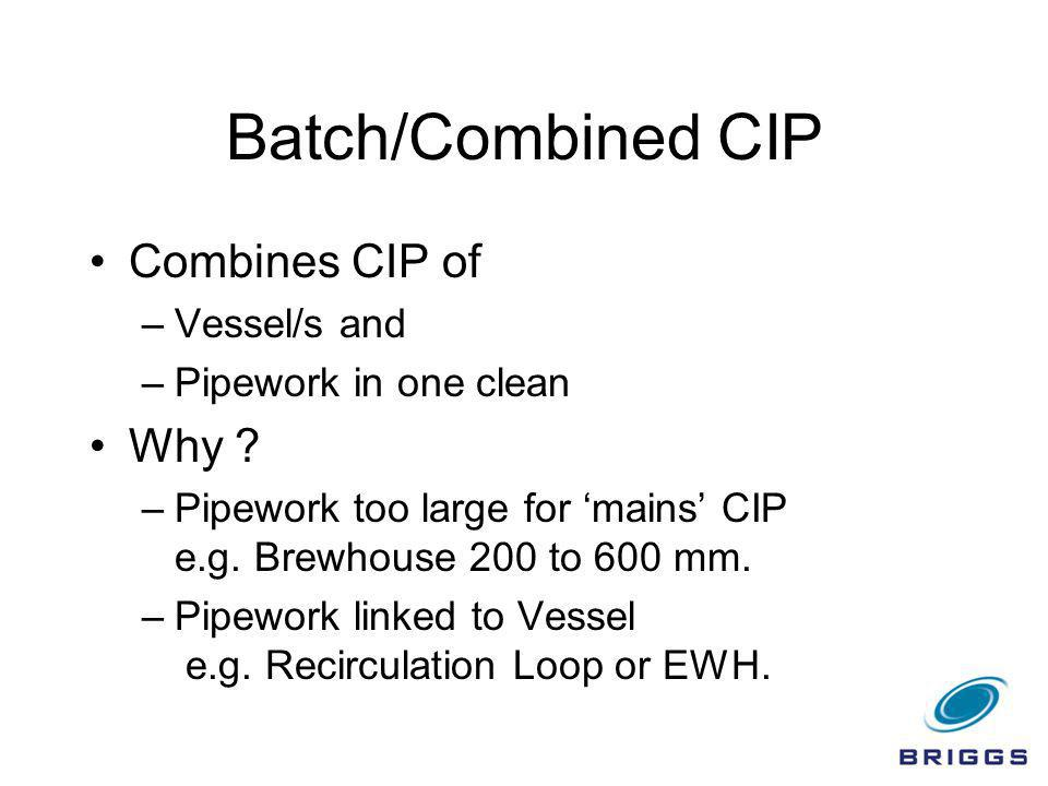 Batch/Combined CIP Combines CIP of Why Vessel/s and