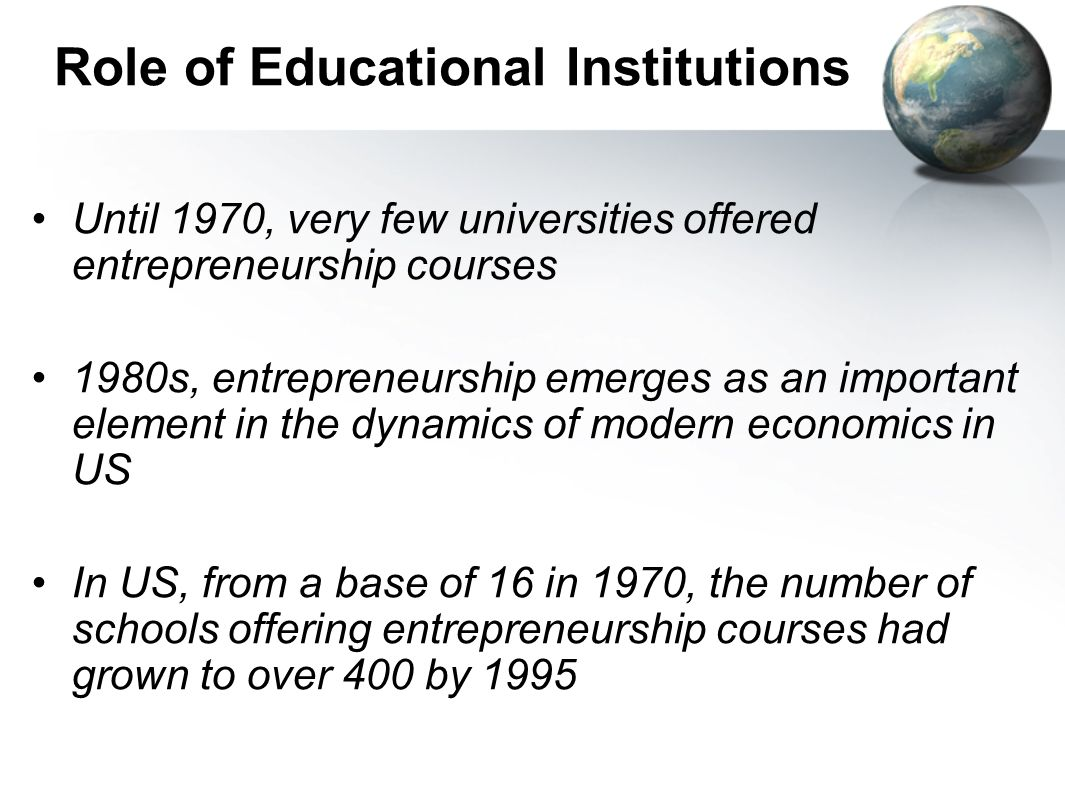 Role of Educational Institutions