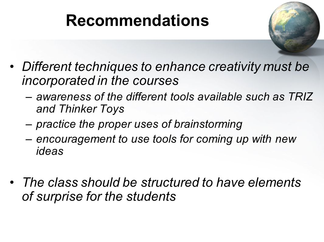 RecommendationsDifferent techniques to enhance creativity must be incorporated in the courses.