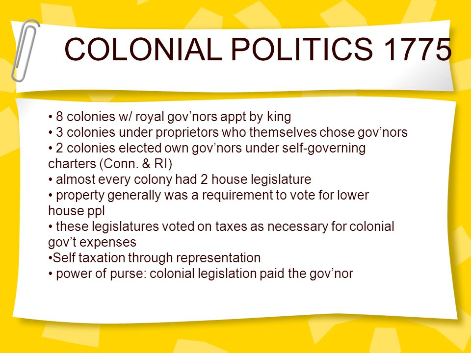COLONIAL POLITICS 1775 8 colonies w/ royal gov'nors appt by king