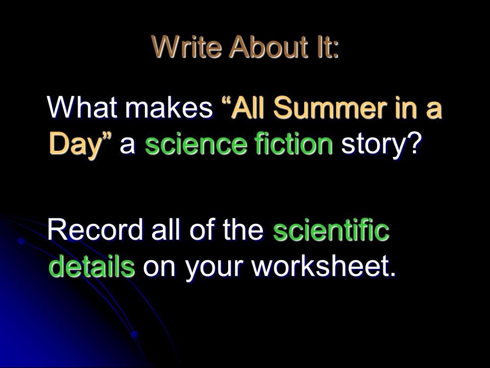 What makes All Summer in a Day a science fiction story