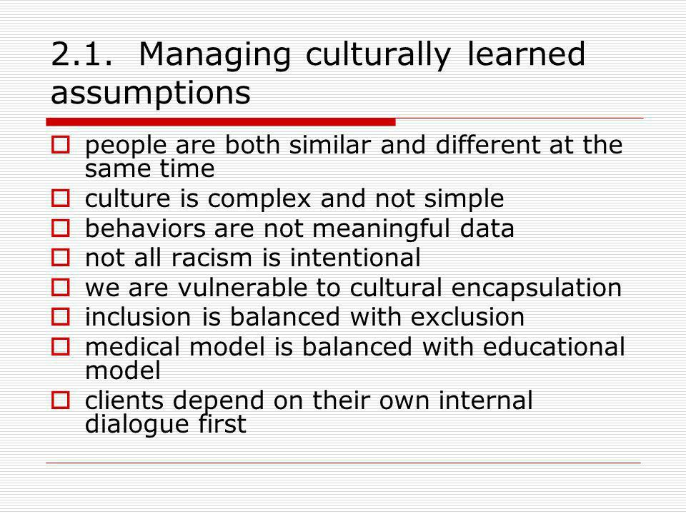 2.1. Managing culturally learned assumptions