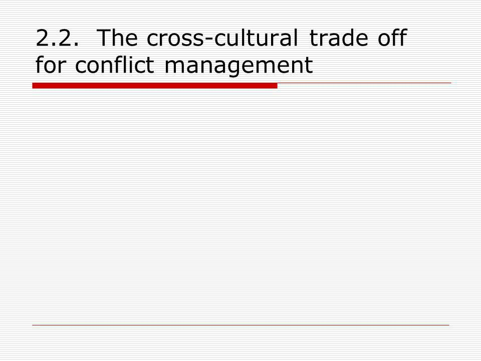 2.2. The cross-cultural trade off for conflict management