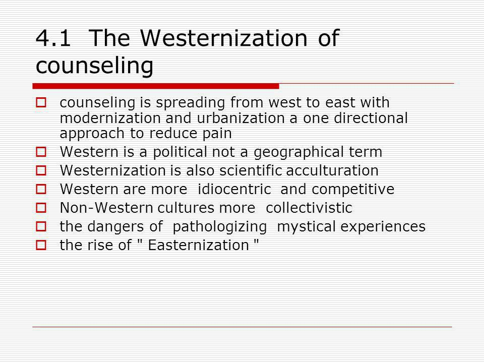 4.1 The Westernization of counseling