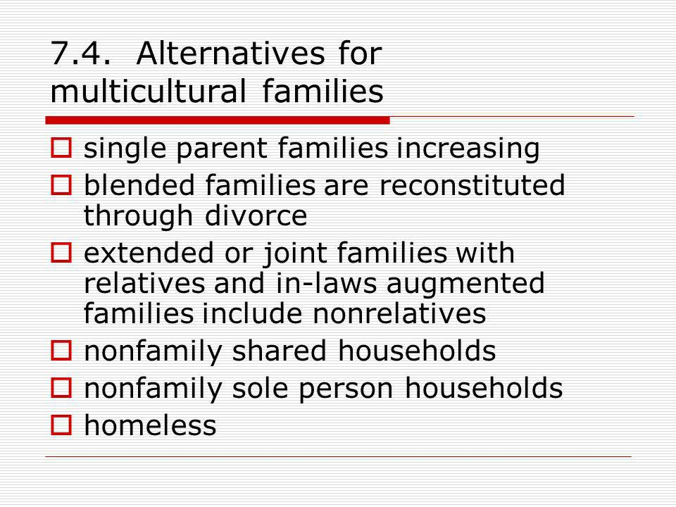 7.4. Alternatives for multicultural families