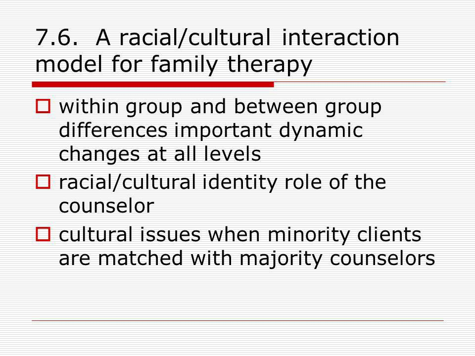 7.6. A racial/cultural interaction model for family therapy