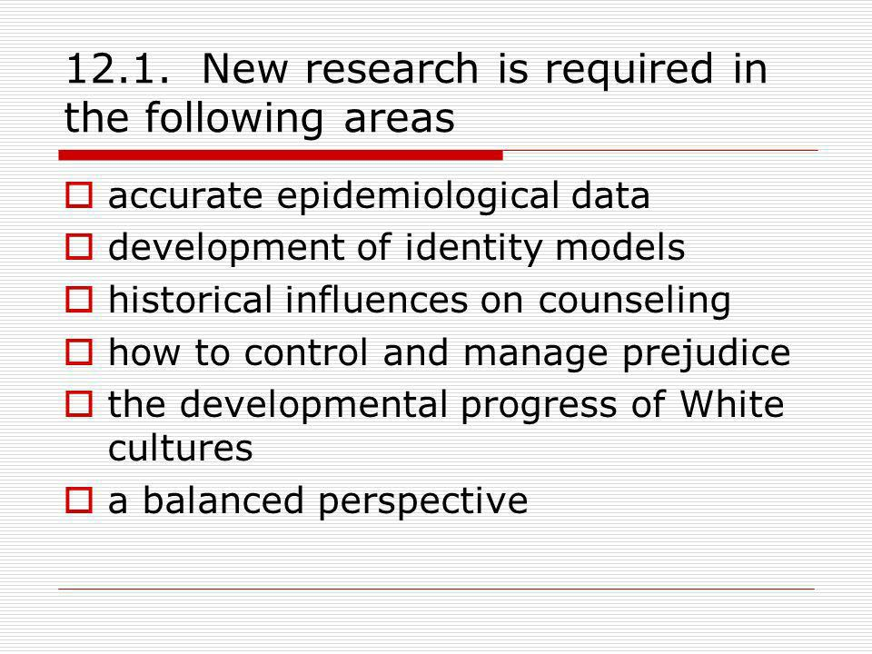 12.1. New research is required in the following areas