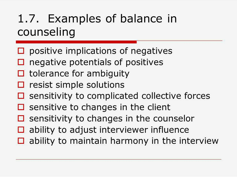 1.7. Examples of balance in counseling