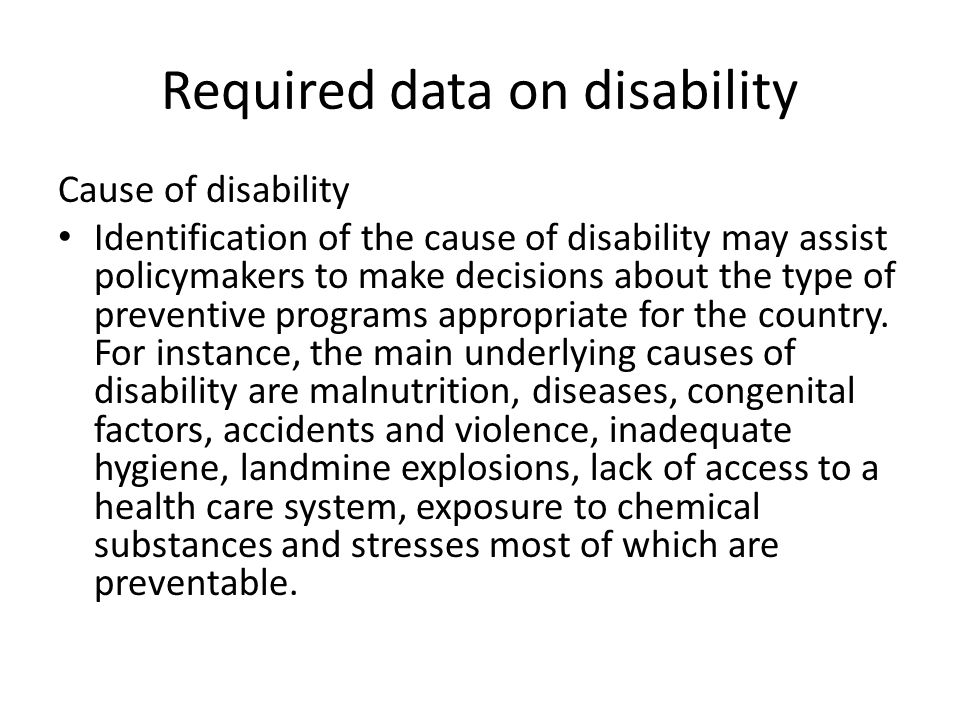 Required data on disability