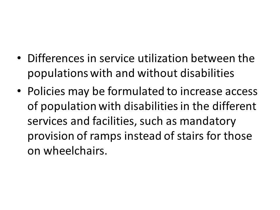 Differences in service utilization between the populations with and without disabilities