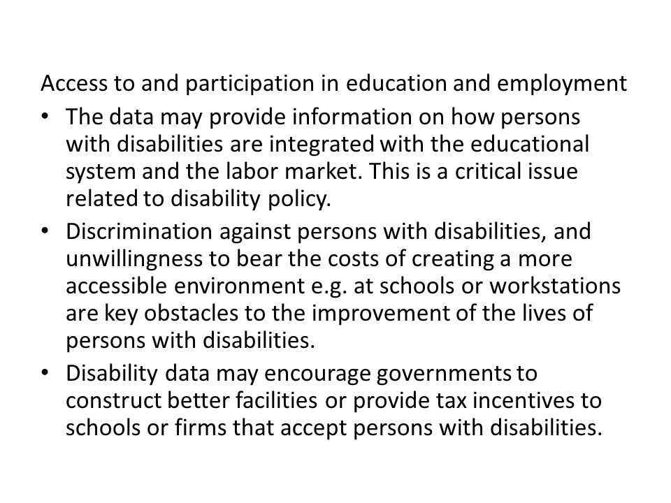 Access to and participation in education and employment