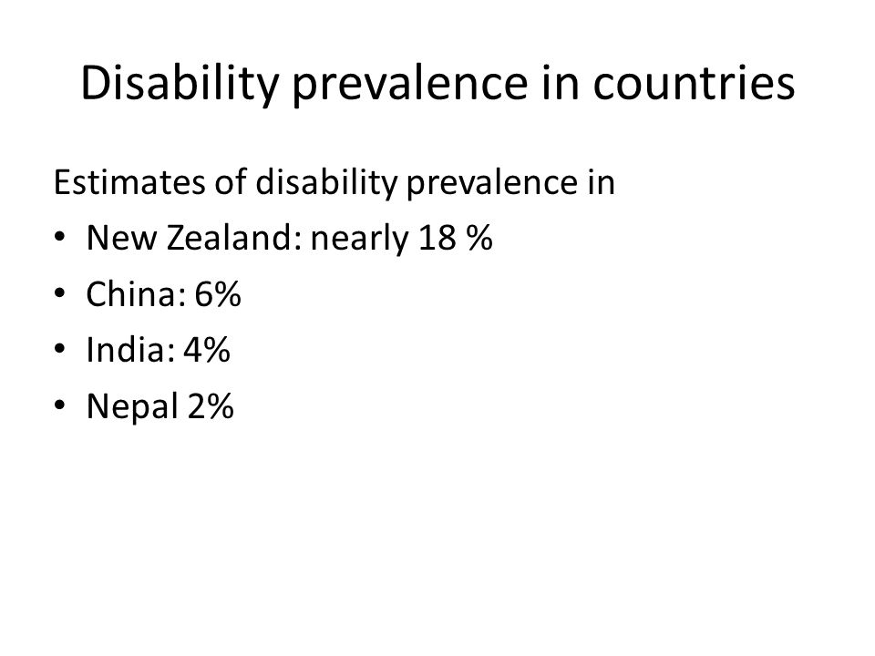 Disability prevalence in countries