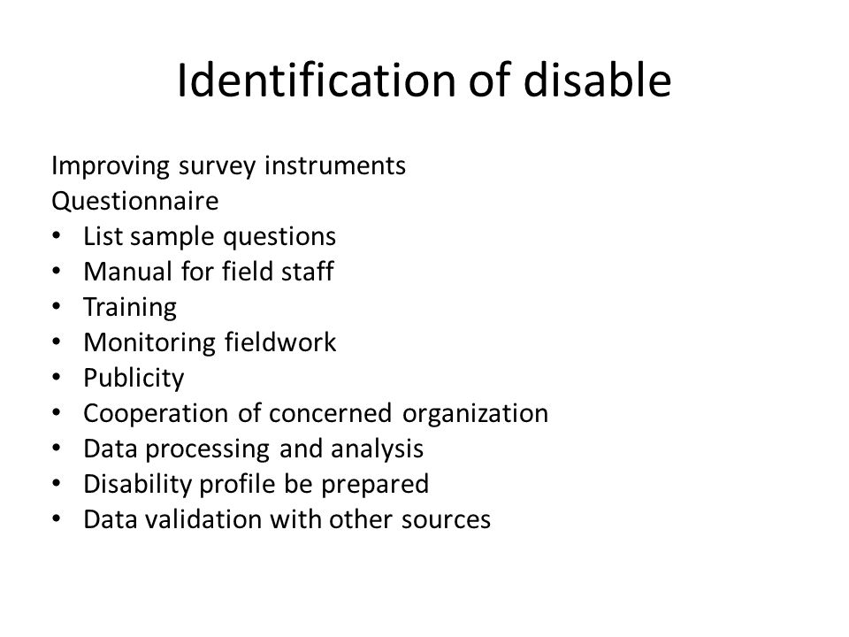 Identification of disable