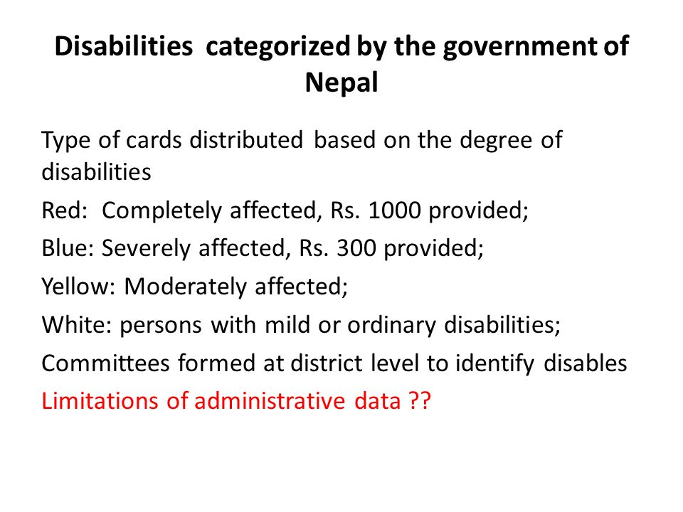 Disabilities categorized by the government of Nepal