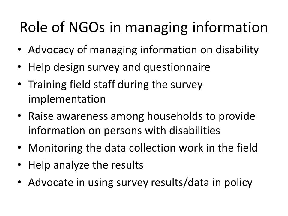 Role of NGOs in managing information