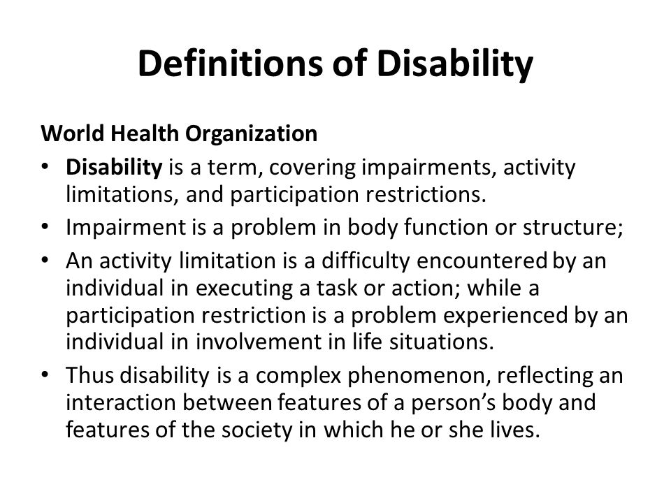 Definitions of Disability