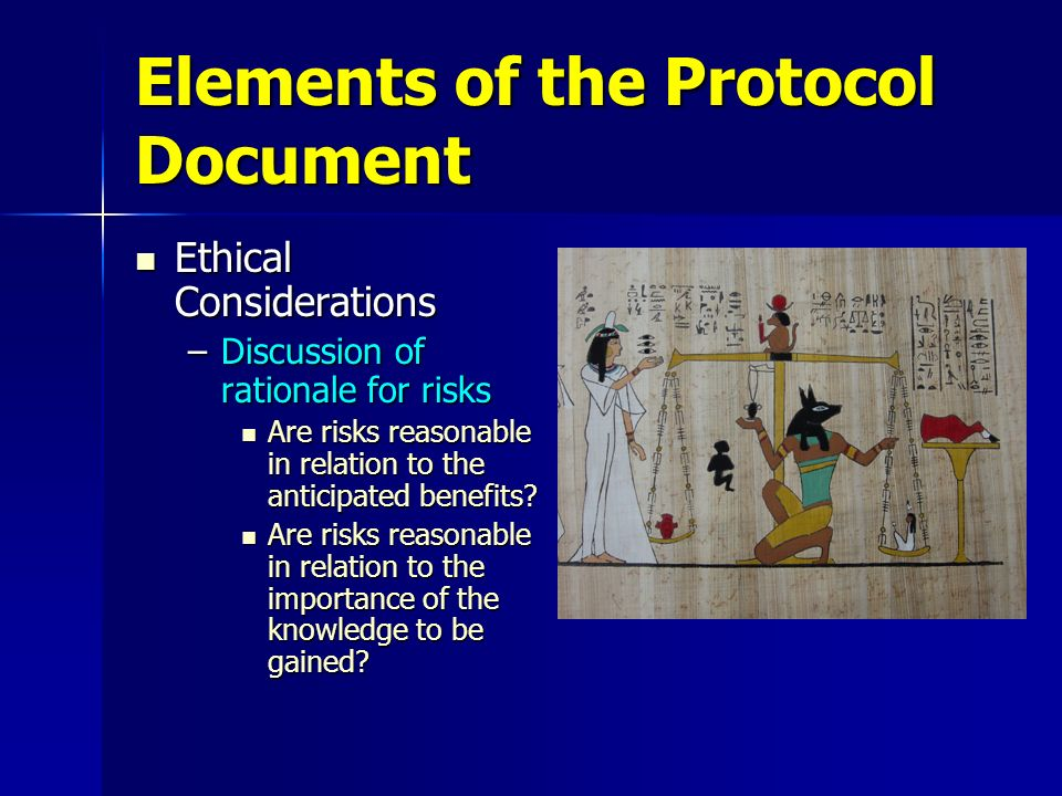 Elements of the Protocol Document