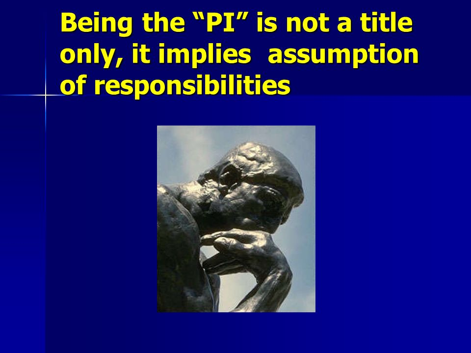Being the PI is not a title only, it implies assumption of responsibilities