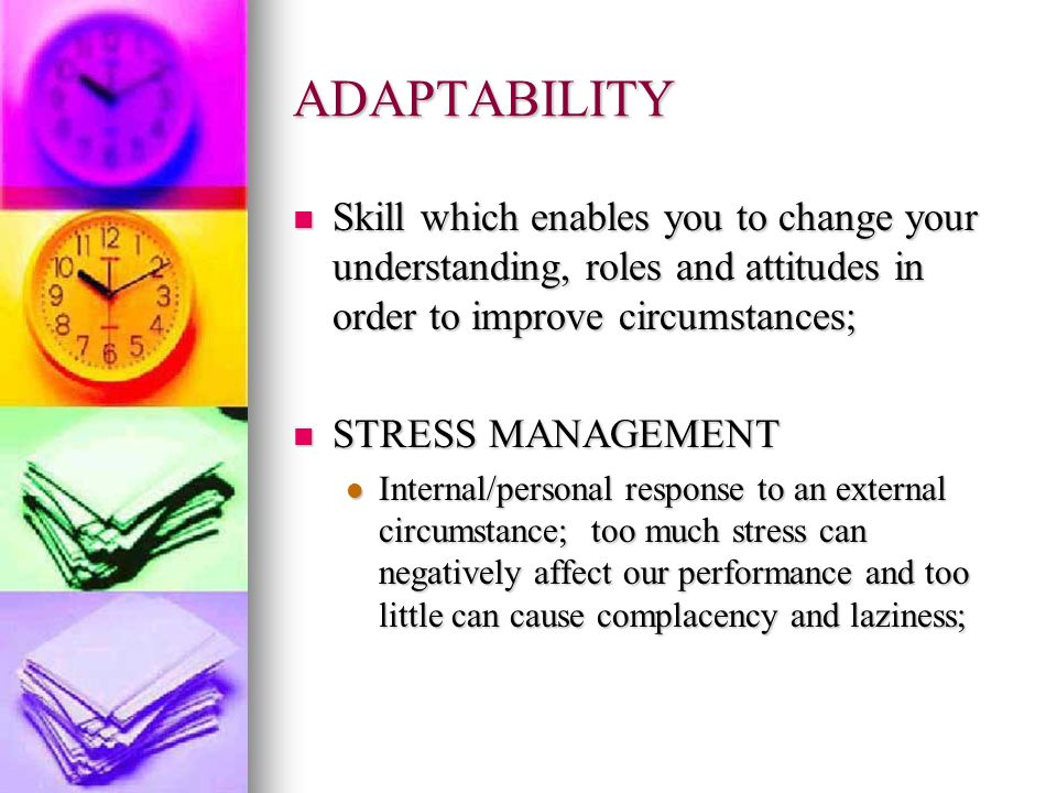 ADAPTABILITY Skill which enables you to change your understanding, roles and attitudes in order to improve circumstances;