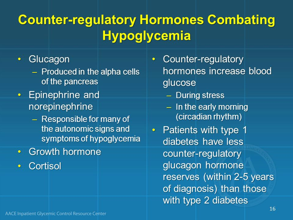 Counter-regulatory Hormones Combating Hypoglycemia