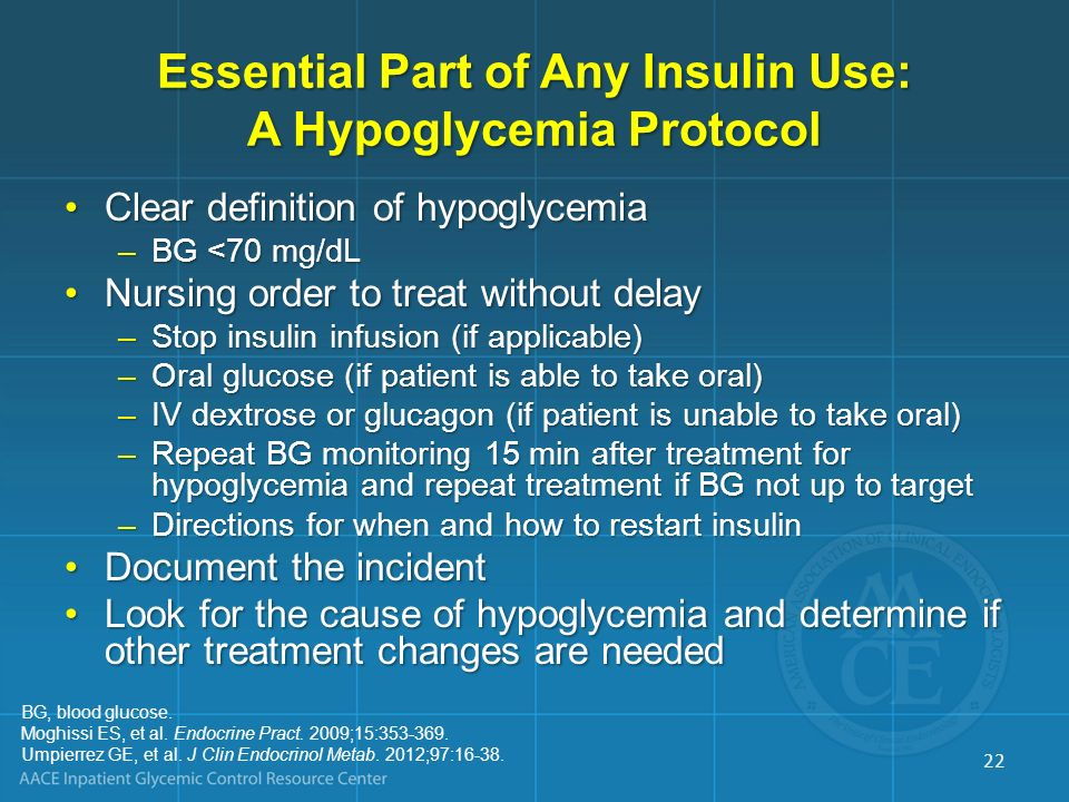 Essential Part of Any Insulin Use: A Hypoglycemia Protocol